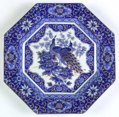 """Imperial Peacock"" china pattern with octagonal shape and blue birds from Arnart."