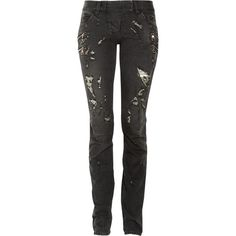 Balmain Distressed low-rise skinny jeans ($674) found on Polyvore