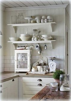 Great Shabby Chic Kitchen Ideas To Get You Started Farmhouse Kitchen Cabinets, Cottage Kitchens, Kitchen Shelves, Home Kitchens, Open Shelves, Cupboards, Country Kitchen, New Kitchen, Vintage Kitchen