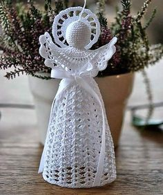 Unique Angel Ornaments For Kids That You'll Love To Take A Look At Crochet angel ornament. Christmas Angel Ornaments, Crochet Christmas Decorations, Crochet Christmas Ornaments, Christmas Crochet Patterns, Holiday Crochet, Crochet Snowflakes, Christmas Crafts, Christmas Ideas, Crochet Angel Pattern