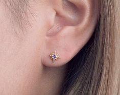Zirconia Stud Earrings Starburst Earrings Dainty Studs | Etsy