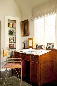 drafting secretary desk, leather and iron armchair // workspaces