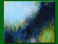 Blue abstract,modean ,Acrylic PAINTING Contemporary art ,Fantasy blue,green,ORIGINAL painting byOAK