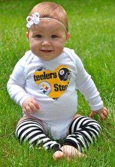 Yellow Pittsburgh Steelers Girls Onesie. $15.00, via Etsy.