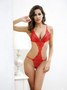 A delightful Teddy Lingerie which definitely excites the senses of your bae and change the course of the night. You'll feel absolutely fabulous. Intimate Teddy Bodysuit Lingerie With Open Front And Sides In Red Equipped With Cut Out Sides And Front With V String Bottom.