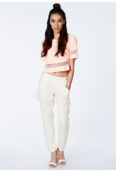 Majca Cream Zip Detail Cigarette Trousers