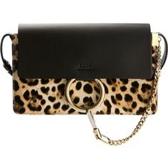 Chloé Small Faye Leopard Printed Calf Hair And Black Smooth Leather... ($1,445) ❤ liked on Polyvore featuring bags, handbags, pony hair handbag, chloe purses, chloe handbags, leopard purse and calf hair purse