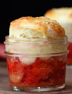 Mini Strawberry Rhubarb Cobbler With Buttermilk Cream Cheese Biscuits