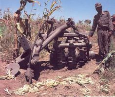 """A mine roller from a South African """"Elephant"""" MBT captured by Angolan forces during The Battle of Cuito Cuanavale. Photo taken sometime during 1987."""