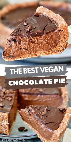 Easy Chocolate Pie, Best Vegan Chocolate, Gluten Free Tart Recipe, Dairy Free Recipes, Vegan Pie, Vegan Foods, Vegan Dessert Recipes, Delicious Vegan Recipes, Vegan Treats