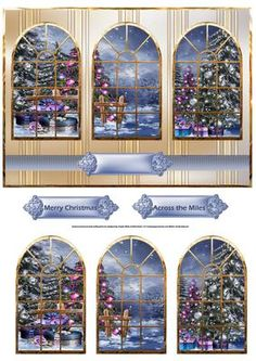 Christmas trees in the park window panel card on Craftsuprint designed by Angela Wake - Christmas trees in the park window panel card with window toppers and sentiment tags - Now available for download!