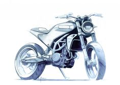 Husqvarna announced that it's going to make production versions of the 401 Svartpilen and 401 Vitpilen motorcycle concepts. Bike Sketch, Car Sketch, Concept Motorcycles, Custom Motorcycles, Sketch Design, Design Art, Ducati, Motorbike Design, Scooter Design