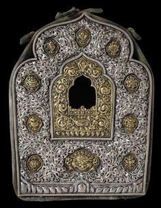 Tibetan Buddhist Gold & Silver Gau, late 19th century, Tibet.