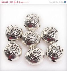 ON SALE Lotus Blossom bead Spacer 7-8 mm in by LyrisBeadBoutique