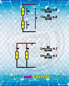 Potential and Current Divider Electronic Circuit Projects, Electronic Parts, Electronic Engineering, Electrical Engineering, Electronics Basics, Electronics Components, Electronics Projects, Voltage Divider, Circuit Board Design