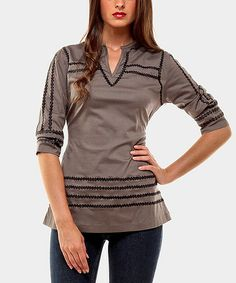 Take a look at this Gray Greatest Three-Quarter Sleeve Top by Almatrichi on #zulily today!