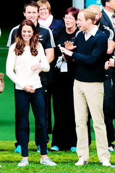 The Duke and Duchess of Cambridge in New Zealand, April 2014 #katemiddleton She is the only one who can wear sneakers. Period.