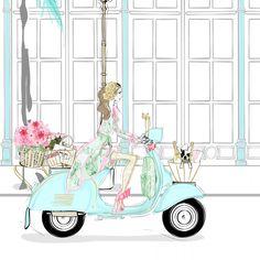 Vespa Illustration, Megan Hess Illustration, Ilustración Megan Hess, Vespa Vintage, Kerrie Hess, Pastel Crayons, Fashion Design Drawings, Triumph Motorcycles, Tiffany Blue