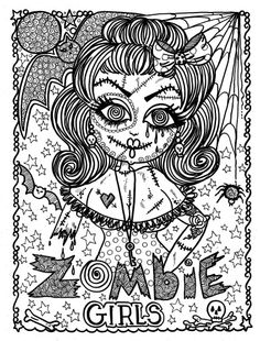 Adult Halloween Zombie Girl Coloring Pages Printable And Book To Print For Free Find More Online Kids Adults Of