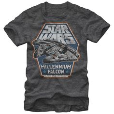 Hunk of Junk - The Kessel Run doesnt stand a chance against the Millennium Falcon Hunk of Junk Heather Charcoal T-Shirt. A slightly distressed print lends a vintage style to this awesome charcoal tee featuring the Star Wars logo above the Millennium Falcon with Fas