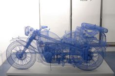 Wire motorcycle sculpture - Shi Jindian