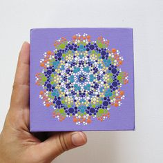 Lavender Mandala Painting on Canvas - 4 x 4 Hand-Painted Mandala - Original Acrylic Painting on Canvas - Tiny Painting via Etsy