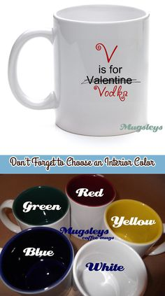 Funny Valentine V is for Vodka  Valentines Day Coffee by Mugsleys, $10.00