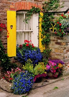 Polperro Outdoor Canvas Art Our Polperro Outdoor Canvas Art features a bright and cheery window with wooden shutters and a colorful garden of blooming flowers. Create your own oasis with our stunning, Beautiful Gardens, Beautiful Flowers, Garden Windows, Window Boxes, Outdoor Art, Flower Boxes, Window Box Flowers, Belle Photo, Windows And Doors