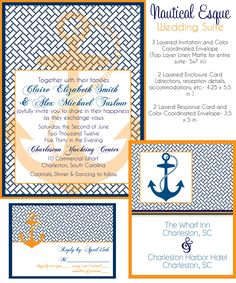 Wedding Invitation Suite Nautical Esque Design by PARTYBOXDESIGN