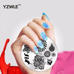 YZWLE 1 Piece Fashion Round Flower Design Nail Art Image Stamp Stamping Plates Manicure Template DIY Polish Stencil Nail Tools