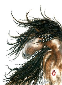 Goache painting of native American horse