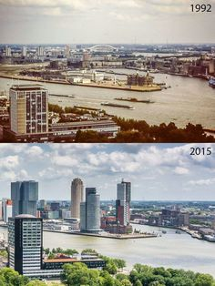 Rotterdam, Wilhelminapier 1992 and 2015.