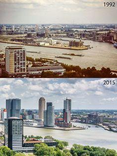 Rotterdam, Wilhelminapier 1992 and 2015.