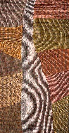 Matilda Gallarla: Pwoja Jilamara, 2012  Ochres on canvas