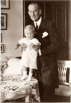Prince Andrew (Andreas) of Greece with his child & only son, PRINCE PHILIP of Greece and Denmark – later Philip Mountbatten of England, Duke of Edinburgh. Members of the House of Schleswig-Holstein-Sonderburg-Glücksburg, Greek & Denmark royal families.