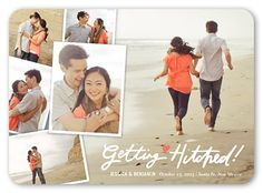 Getting Hitched Collage 5x7 Announcement Card | Save the Date | Shutterfly