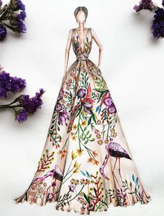 Gorgeous clothing sketch floral cranes and foliage trendy fashion drawing illustration artworks 23 ideas Portfolio Mode, Fashion Portfolio, Portfolio Ideas, Portfolio Design, Clothing Sketches, Dress Sketches, Fashion Illustration Dresses, Fashion Illustrations, Floral Illustrations