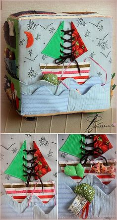 Picture of darling cover with sails to practice tying and fish in the water connected with ribbons. Darling!!!