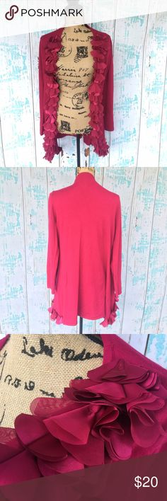 Stera long cardigan w/accent trim size medium Stera long cardigan w/accent trim size medium. More of a fuchsia color than looks in photos. Stera Sweaters Cardigans