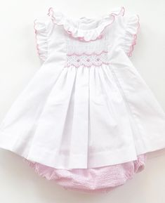 Luli & Me Smocked Set trimmed in pink available at Loozieloo! Tap the photo to purchase. #Loozieloo #ClassicChildrensClothing
