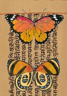 Tropical Butterflies I by Gabby MALPAS   PLATFORMstore   Watercolour and Gouache on antique map Sanskrit leaf