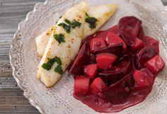 Rote-Rüben-Erdäpfel-Gemüse mit Pangasiusfilet