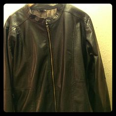 Plus Size Faux Leather Motorcycle Jacket Black, lined faux leather jacket with zipper front and pockets. Hardly worn. Great condition. George Other