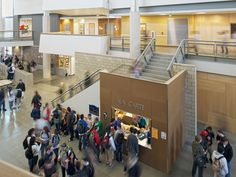"""Lynnwood High School: Designing an environment that would provide a sense of the """"whole school"""" was a key project goal. Bassetti Architects, 2009."""