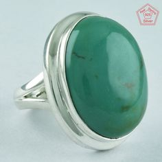 TURQUOISE STONE RING, 925 STERLING SILVER, PRETTY STONE RING R4972, SZ. 7 US #SilvexImagesIndiaPvtLtd #Statement #AllOccasion