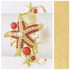 Coral & White Faux Pearl Starfish Bracelet Starfish Bracelet Absolutely adorable and fashionable bracelet.  Gold color textured metal with white & coral faux pearl starfish.  Hinged so it will adjust to your wrist.  ‼️ PRICE FIRM UNLESS BUNDLED‼️ Jewelry Bracelets