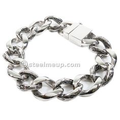 Stainless Steel Carved Curb Chain Men Bracelet 17mm  8.5""