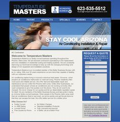 This web design and seo project was performed for a Glendale Arizona AC contractor. I designed everything personally including the logo and the slideshow, and built out the website in wordpress.  For anyone with any lingering doubts about the effectiveness of the wordpress as an SEO platform, I submit for you that after 6 short months of SEO we have temperature masters top 3 for a variety of keywords, from glendale ac contractors to phoenix heat pumps, resulting in very nice traffic