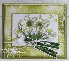 Handmade card made by DT member Anja with the layered stamps Tiny's Helleborus (TC0861) from Marianne Design