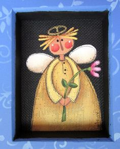 Folk Art Angel with Pink Flower Tole Painted by barbsheartstrokes
